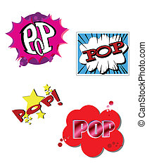 pop art - comic book text of the word pop in explosion...