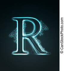 Glowing font. Shiny letter R. - Glowing neon letter with...