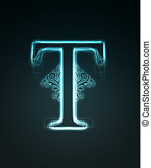 Glowing font. Shiny letter T. - Glowing neon letter with...