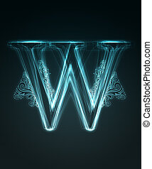 Glowing font. Shiny letter W. - Glowing neon letter with...