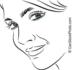 pretty woman face illustration