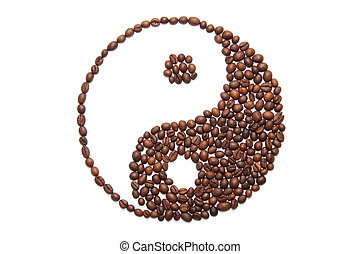 jing jang of coffee on a white background