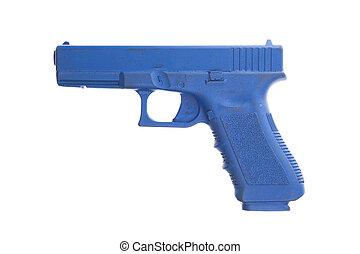 sucio, azul, entrenamiento, arma de fuego, aislado, blanco
