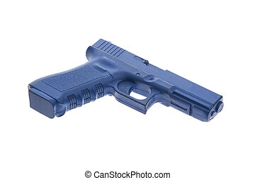 Dirty blue training gun isolated on white, law enforcement