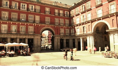 the famous placa mejor in madrid on a sunny afternoon