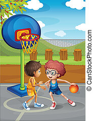 Two boys playing basketball at the basketball court -...