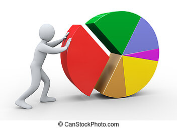 3d man completing pie chart - 3d Illustration of person...