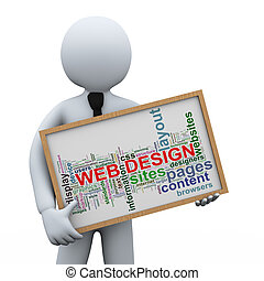 3d businessman and web design tags - 3d illustration of man...