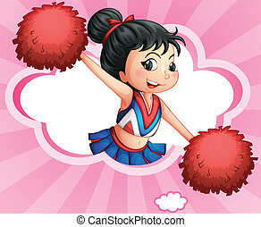 A cheerleader inside a cloud - Illustration of a cheerleader...