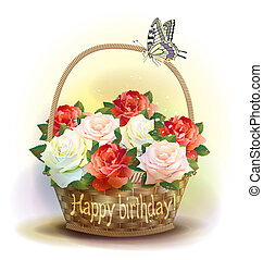 Wicker basket with roses. Birthday card.