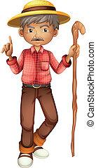 An old man holding a stick