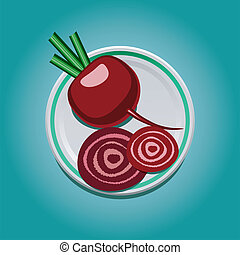 beet with slices on a plate - vector illustration of purple...