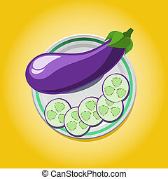 eggplant on a plate with slices - vector illustration of...