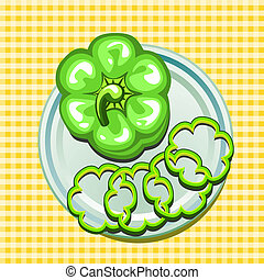 green sweet pepper on a plate - vector illustration of green...