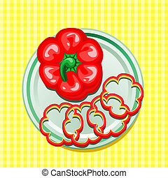 red sweet pepper on a plate - vector illustration of red...