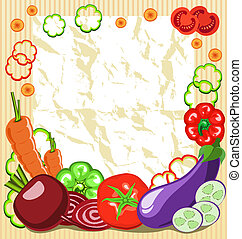 vegetable frame - frame of vegetables with a piece of paper