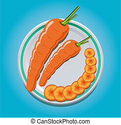 carrots on a plate with slices - vector illustration of...