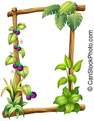 A frame made of wood with vine plants - Illustration of a...
