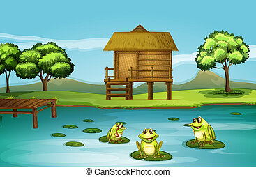 A pond with three playful frogs - Illustration of a pond...