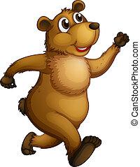 A big bear running - Illustration of a big bear running on a...