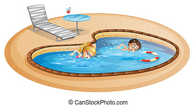 A girl and a boy swimming at the pool - lllustration of a...