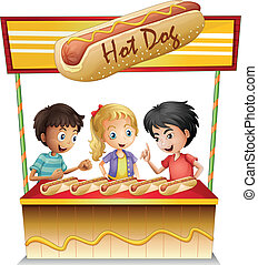 Three kids in a hotdog stand - Illustration of the three...