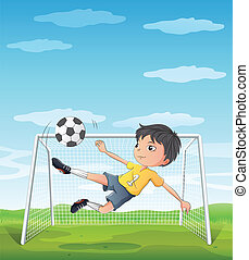 A young athlete kicking the soccer ball - Illustration of a...