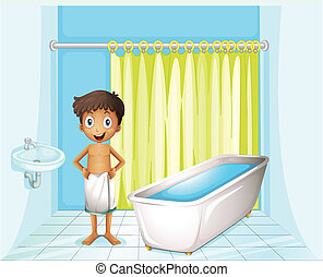 A boy at the bathroom - Illustration of a boy at the...