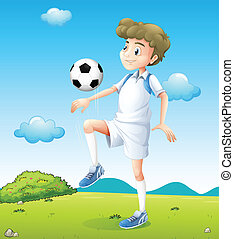 A boy playing soccer during daytime - Illustration of a boy...