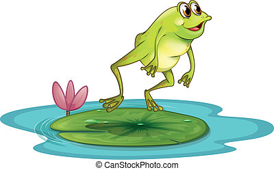 A frog at the pond - Illustration of a frog at the pond on a...