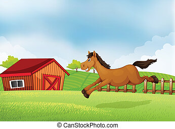A horse running in the field - Illustration of a horse...