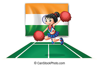 A cheerleader in front of the Indian flag