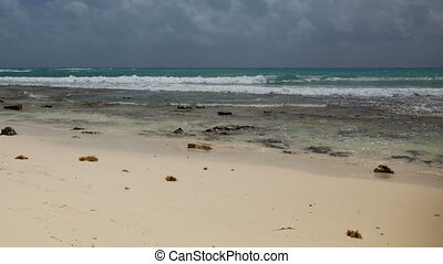 timelapse of an empty paradise beach, mexican caribbean...