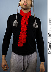 Hipster with red scarf