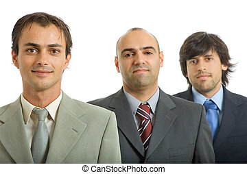 business team - three business men isolated on white...