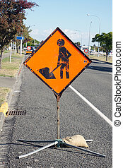 Men at work sign - Roadside men at work sign warning of...