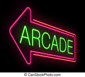 Neon arcade sign - Illustration depicting an illuminated...