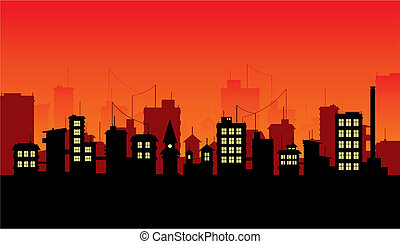 City 3 - Silhouette of night city on red background