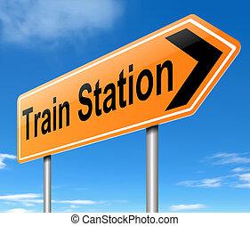 Train Station sign. - Illustration depicting a sign...