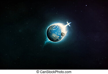 Christian cross on planet earth. Elements provided by NASA