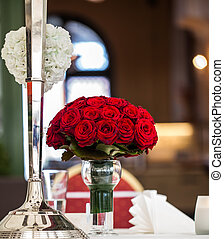 roses - bright red wedding bouquet made out of roses...