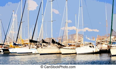 timelapse of yachts and boats in a small pretty harbour in...