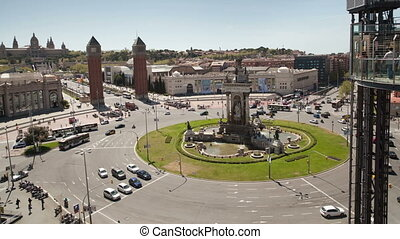timelapse of plaza espana in barcelona, shot from a high...