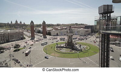 plaza espana in barcelona, shot from a high vantage point