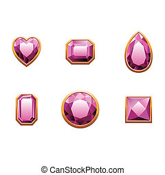 Set of pink colored gems. Vector illustration isolated on...