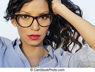 Woman wearing retro glasses - Beautiful woman wearing retro...