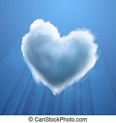 Cloud-shaped heart on a sky, vector Eps10 illustration
