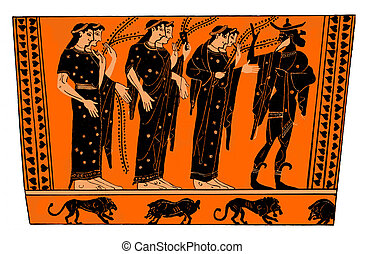 Ancient greek vase: Hermes with Nymphs