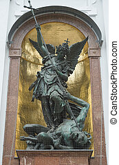 Saint Michael defeats Satan on Saint Michael Church in...