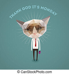 Funny sad cat - thank Got it's monday, vector Eps10...